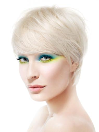 Young Fashion Platinum Blonde Short Straight Lace Front Human Wigs