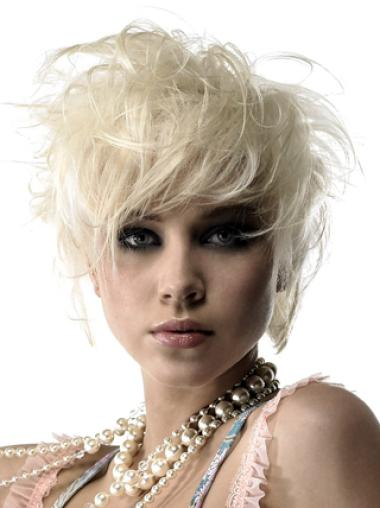 Young Fashion Short Platinum Blonde Hairstyle Lace Front Wigs