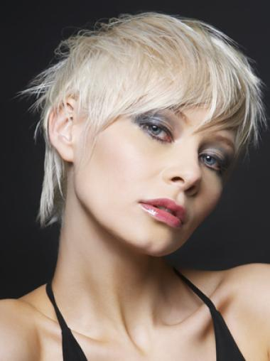 Young Fashion Cute Platinum Blonde Layers Lace Front Wigs