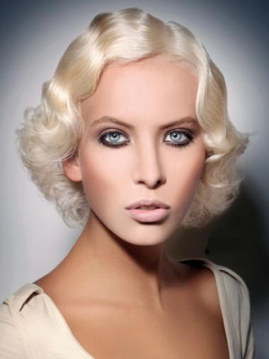 Young Fashion Platinum Blonde Chin Length Wavy Lace Front Wigs