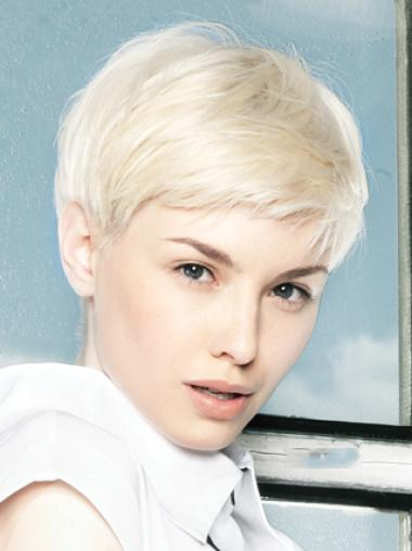 Young Fashion Platinum Blonde Short Yongthful Lace Front Human Wigs