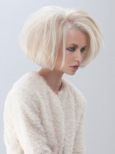 Young Fashion Platinum Blonde Elegant Sexy Bobs Chin Length Lace Front Synthetic Wigs