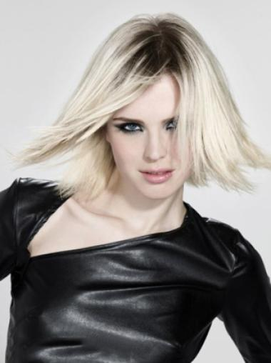 Young Fashion Platinum Blonde Mid-Length Cut Straight Lace Front Wigs