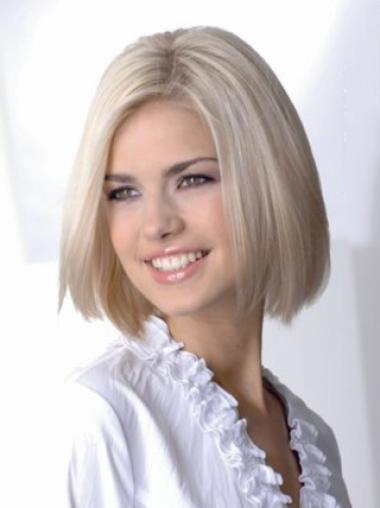 Young Fashion Platinum Blonde Medium Length Haircut Straight Full