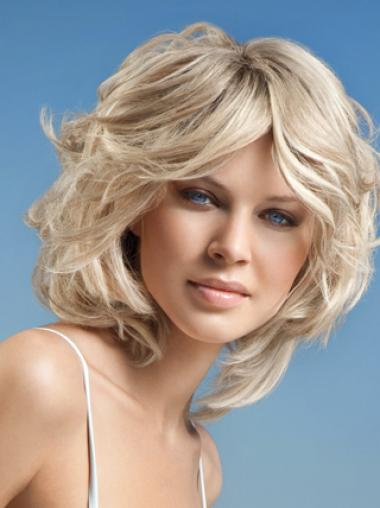 Young Fashion Platinum Blonde Chic Bobs Wavy Full Lace Human Wigs