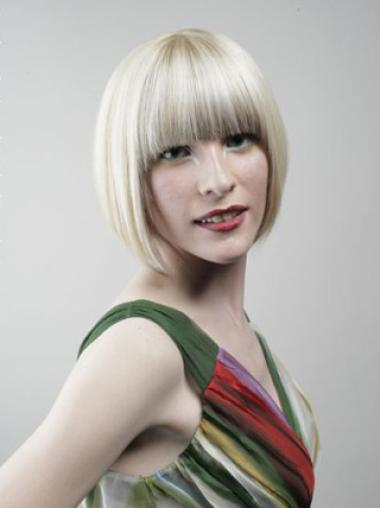 Young Fashion Platinum Blonde Chin Length Straight Full Lace Human Wigs