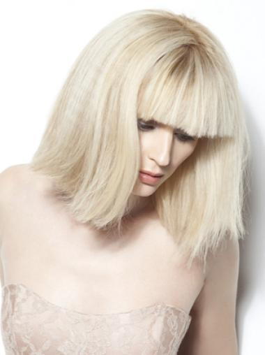 Young Fashion Platinum Blonde Classic Bobs White Chin Length Full Lace Wigs