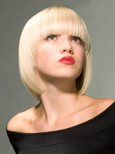 Young Fashion Platinum Blonde Full Lace Synthetic Chin Length Wigs