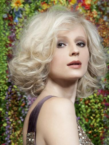 Young Fashion Platinum Blonde Wavy Elegent Full Lace Synthetic Wigs