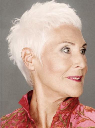 Short Straight Capless Remy Human Hair Mature Women Wigs hfnb118