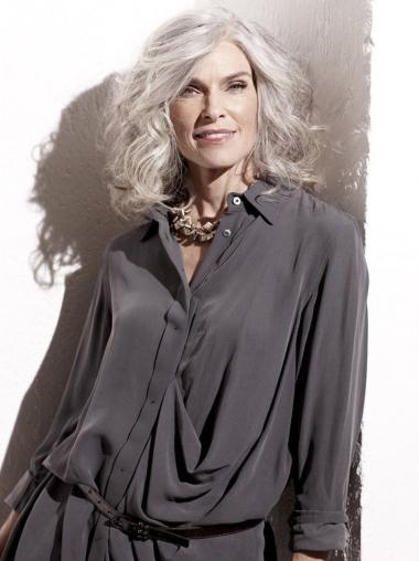 Shoulder Length Remy Human Hair Capless Wavy Mature Women Wigs 14 Inch