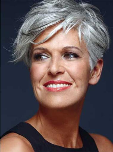 Short Remy Human Hair Capless Straight Grey Wigs 8 Inch