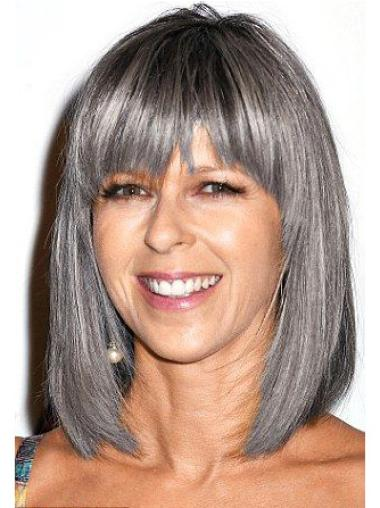 "12"" Straight Shoulder Length Lace Front Grey Wigs for Lady"
