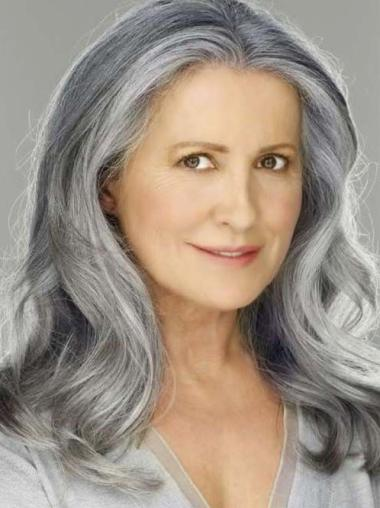 """16"""" Wavy Shoulder Length Lace Front Grey Wigs for Lady"""