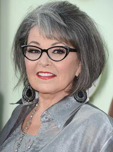 """12"""" Straight Chin Length Lace Front Grey Mature Women Wigs"""
