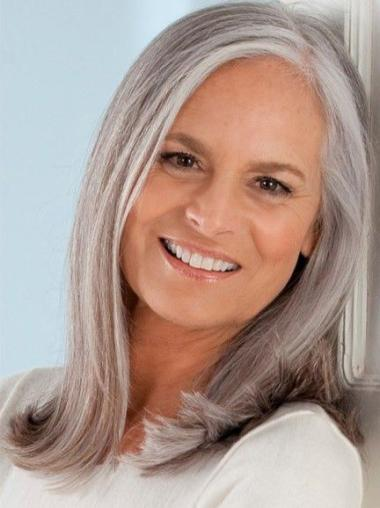 """14"""" Shouder Length Straight Lady Wigs Hand Tied Grey"""