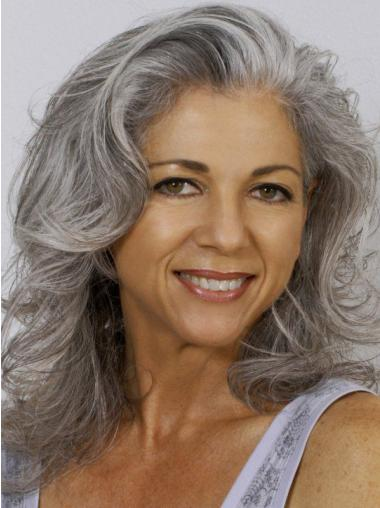 14 Quot Shoulder Length Wavy Old Lady Wigs Hand Tied Grey Lace