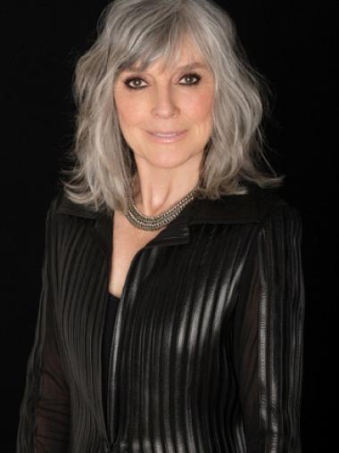 "14"" Shoulder Length Wavy Mature Women Wigs Hand Tied Grey"