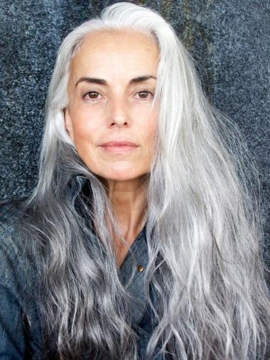 "18"" long wavy mature women wigs hand tied grey,lace wigs"