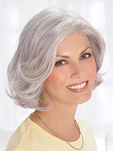 Silver Old Women Chin Length Wavy Elegent Human Wigs Grey Wigs
