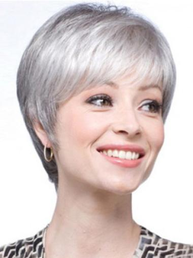 Silver Lady Short Clean Human Wigs