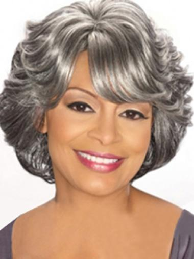 Dip Grey Lady With Bangs Chin Length Human Wigs