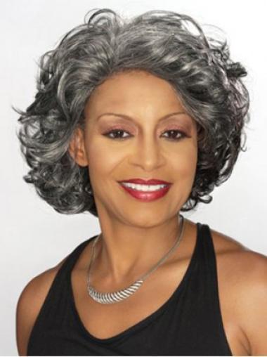 Dip Grey Lady Chin Length Capless Human Wigs