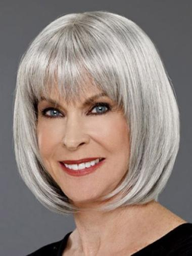 Grey Lady Chin Length Bobs Capless Wigs