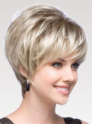 Lady Layered Blonde Capless Human Wigs