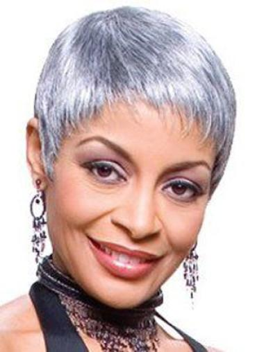 Grey Lady Very Short Clean And Clear Lace Front Human Wigs