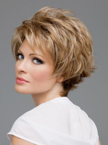 Lady Layered Brown Comfortable Lace Front Wigs