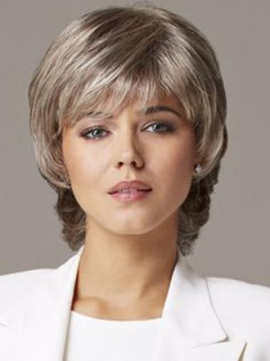 Grey Lady Shorrt Wavy Lace Front Wigs