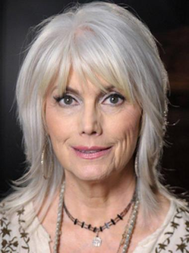 d3be0016b Silver Old Women Shoulder Length Layered Synthetic Wigs,Grey Wigs
