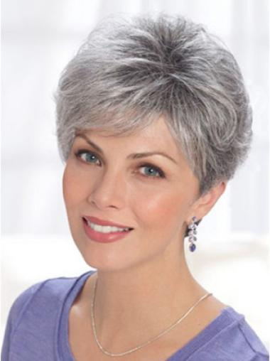 Grey Lady Short Classic Lace Front Human Wigs