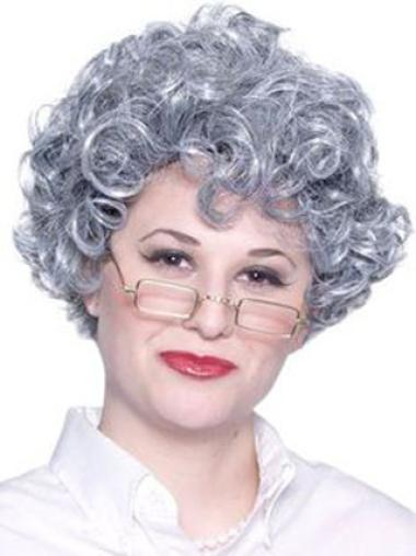 Grey Lady Curly Short Lace Front Wigs