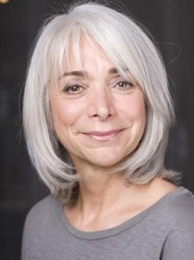 Silver Old Women Chin Length Bobs Straight Lace Front Wigs