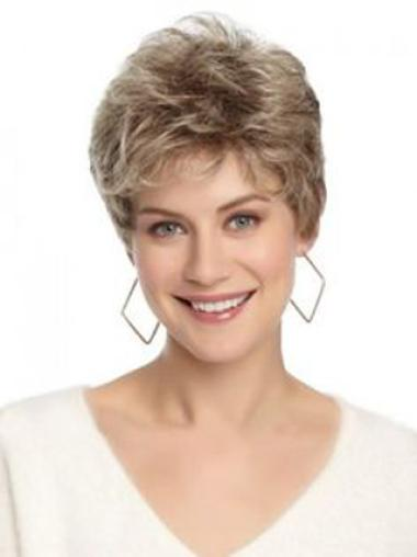 Lady Brown Short Wavy Lace Front Wigs
