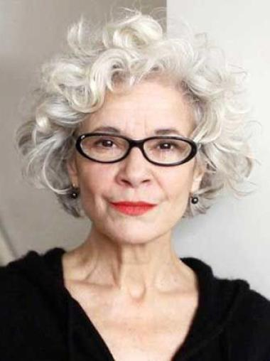White Old Women Curly Short Elegent Comfortable Wigs 579fe7bc03