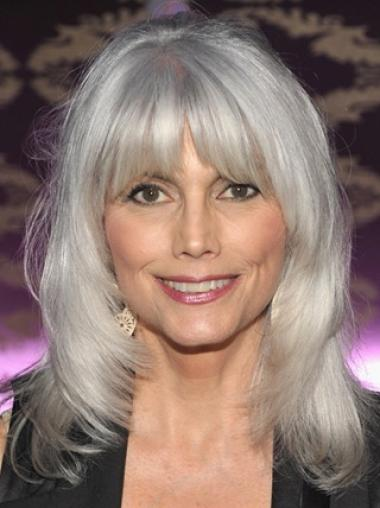 Silver Old Women Shoulder Length Wavy With Bangs Synthetic