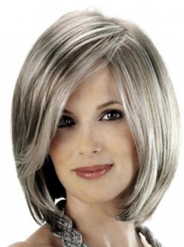 Grey Lady With Side Bangs Smooth Human Wigs