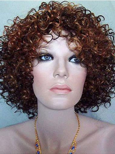Natural Auburn Curly Chin Length Synthetic Wigs
