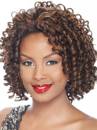 Polite Brown Curly Chin Length Synthetic Wigs & Half Wigs