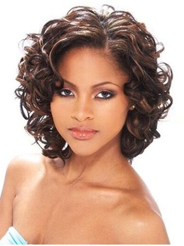 Auburn Curly Brazilian Remy Hair Radiant Medium Wigs