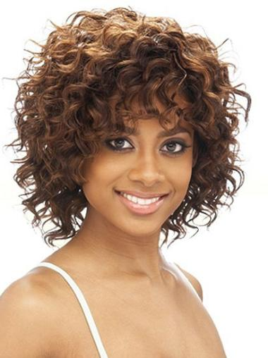 Shining Brown Curly Chin Length African American Wigs