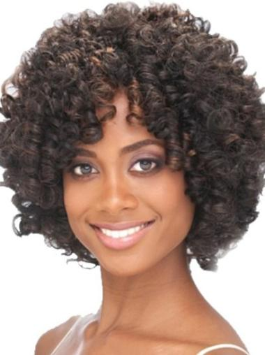 Cool Brown Curly Chin Length African American Wigs