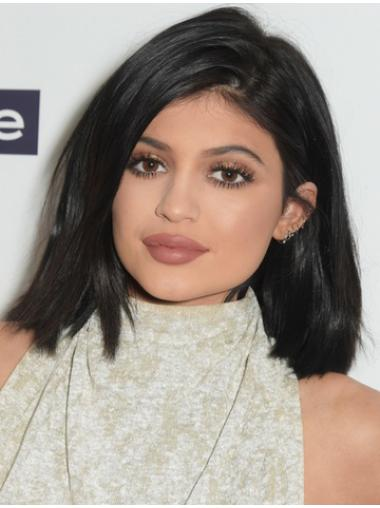 High Quality Shoulder Length Straight Black Bobs Kylie Jenner Inspired Wigs