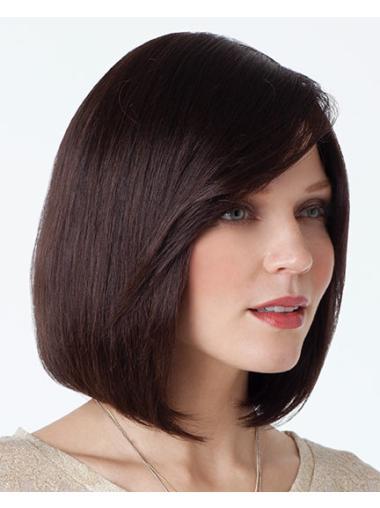 Comfortable Auburn Straight Chin Length Human Hair Wigs