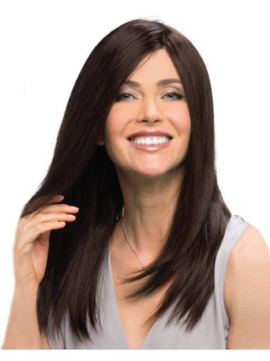 Graceful Remy Human Hair Monofilament Straight Long Wigs