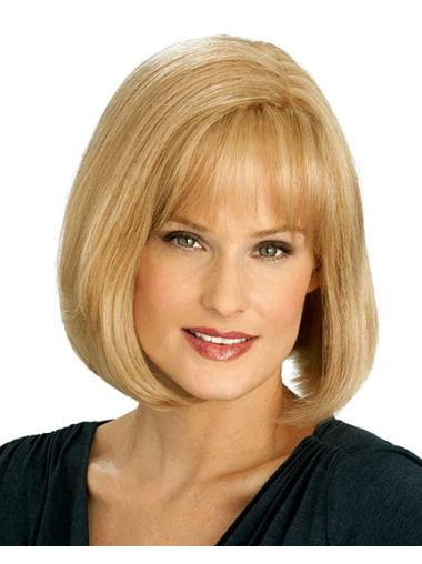 Convenient Blonde Straight Chin Length Celebrity Wigs