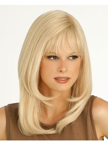 Good Blonde Monofilament Shoulder Length Petite Wigs